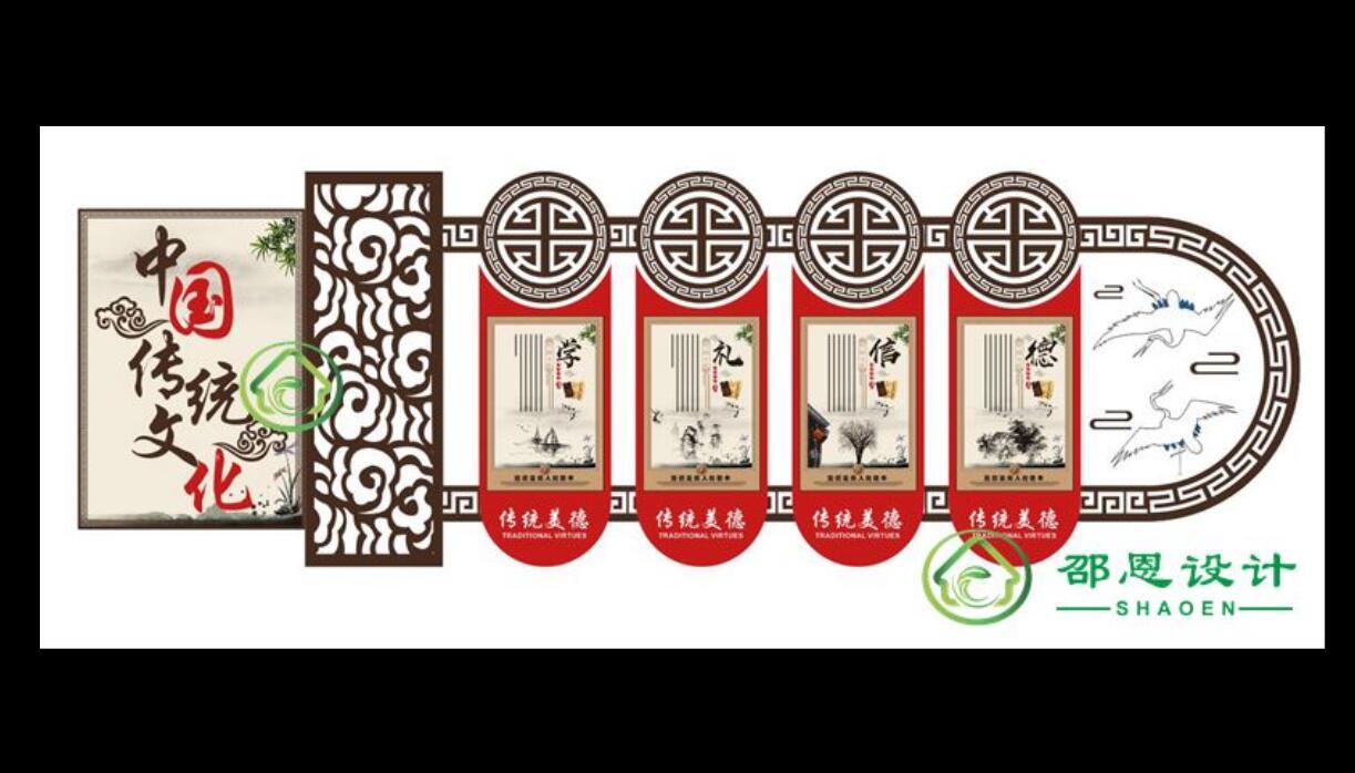 中国传统文化墙传统美德展示展板