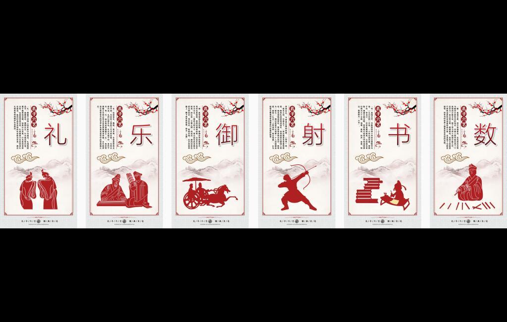 走廊文化展板孔子六艺礼乐御射书数