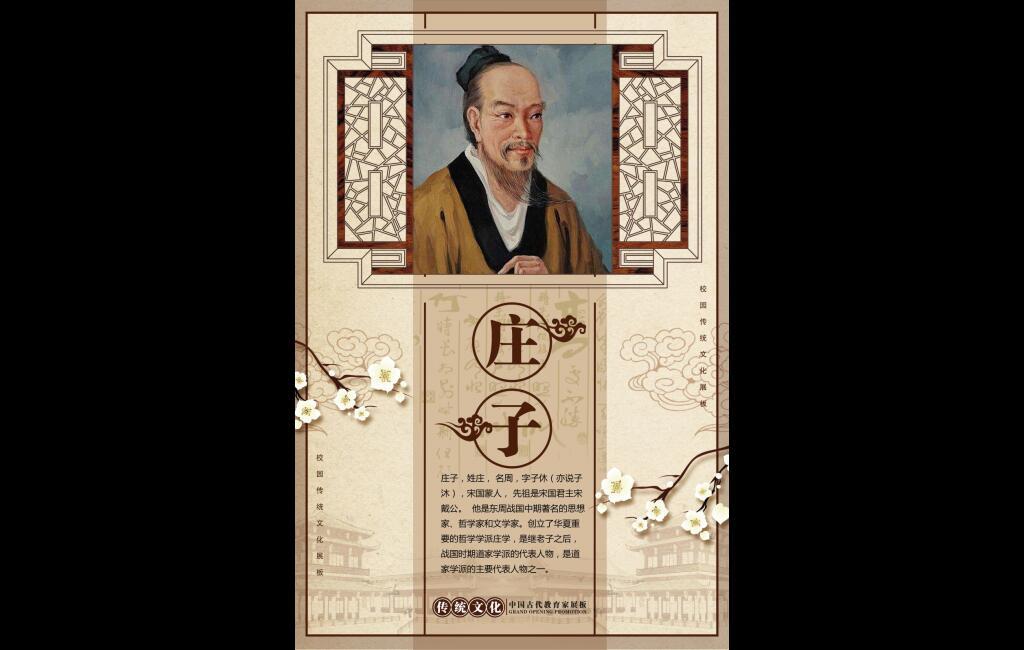 学校走廊校园文化展板传统文化之名人简介庄子宣传挂画psd源文件