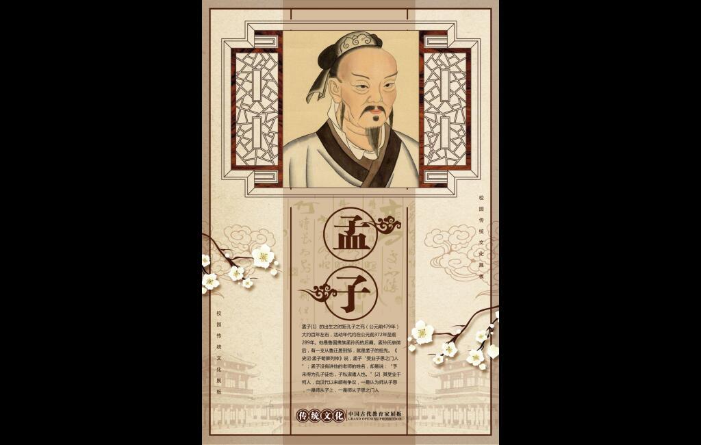 学校走廊校园文化展板传统文化之名人简介孟子宣传挂画psd源文件