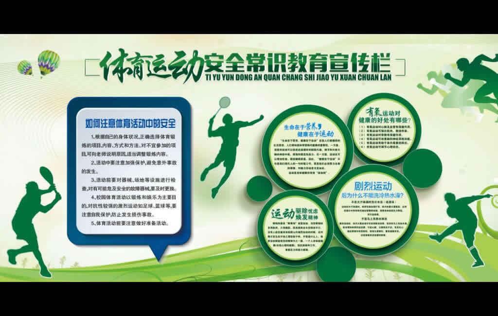 体育运动安全常识教育宣传栏展板素材