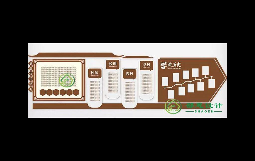 校园文化素材【一训三风学校历史展示墙】cdr源文件