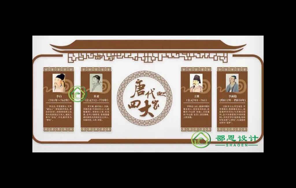 校园文化素材【唐代四大家展示墙】cdr源文件