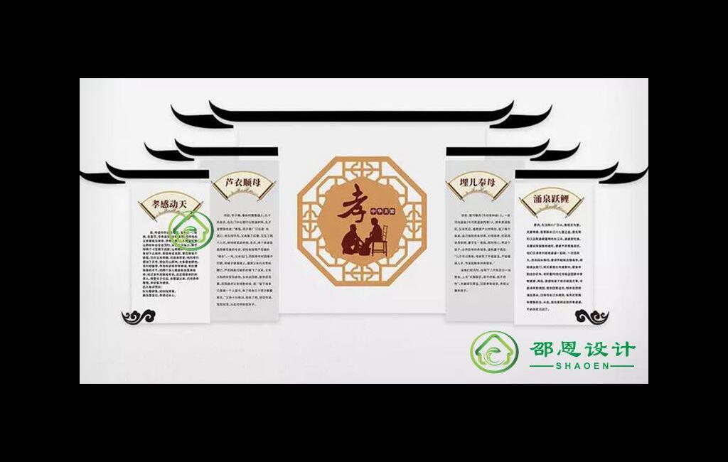 校园文化素材【孝感动天芦衣顺母展示墙】cdr源文件