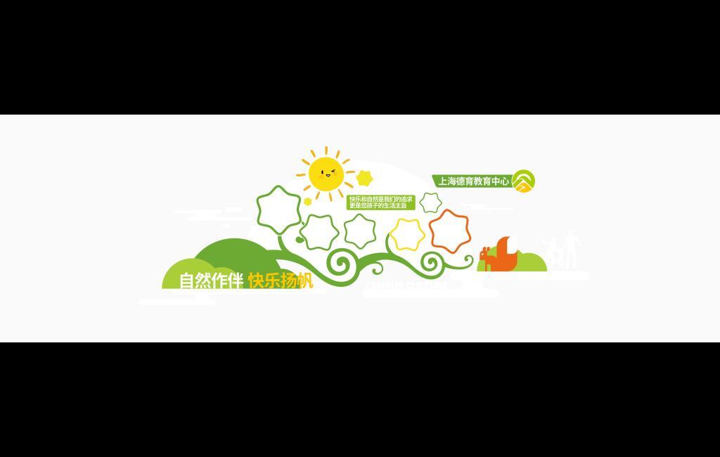 幼儿园创意文化墙自然作伴快乐扬帆