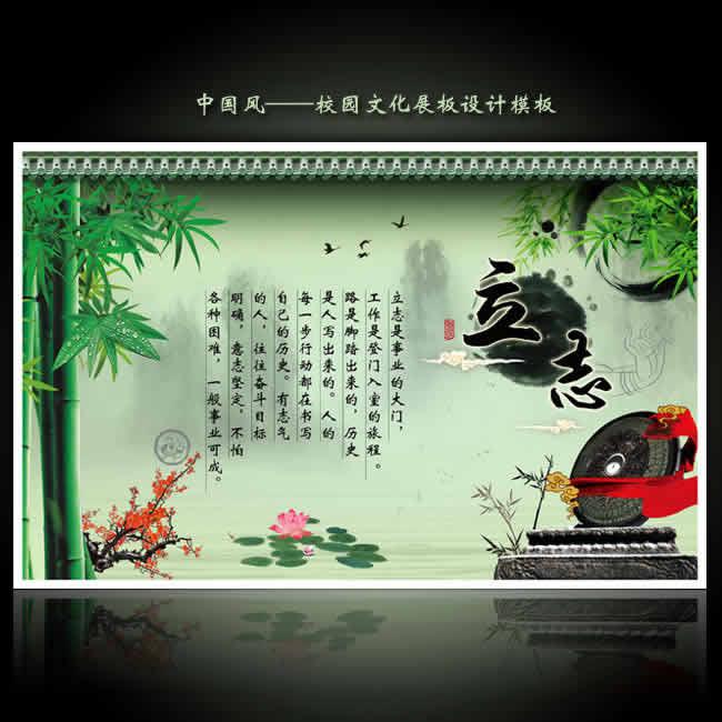 励志标语—中国风学校文化展板psd模板【立志】