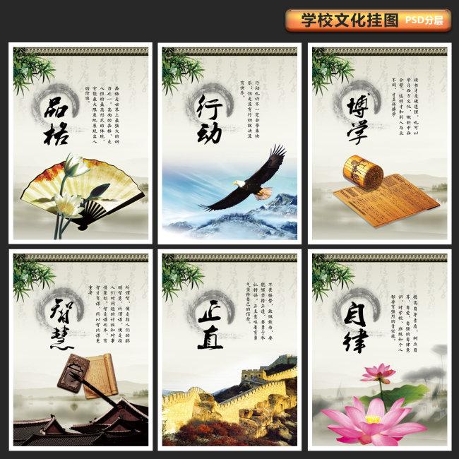 校园文化素材-中国传统文化【品格、行动、博学、智慧、正直、自律】展板