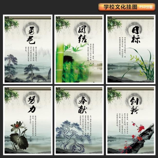 校园文化素材-中国传统文化【勇气、团结、目标、努力、奉献、创新】展板